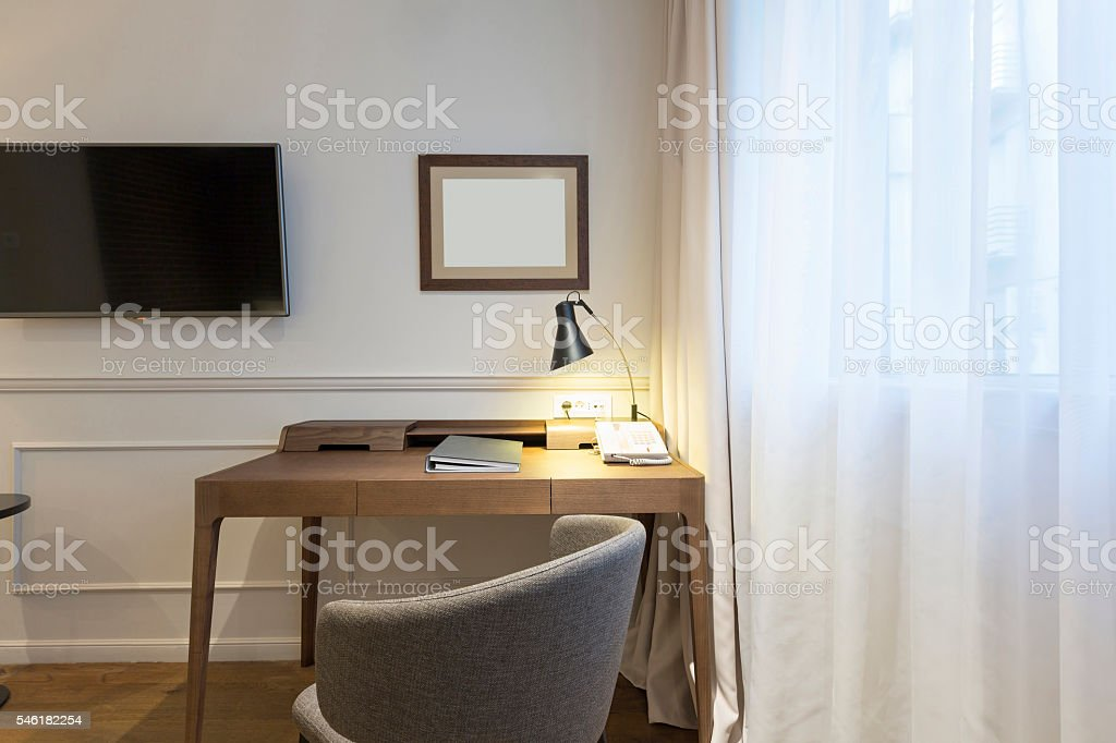 Interior of a home office stock photo