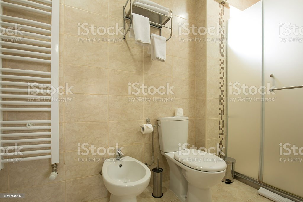 Interior of a hotel bathroom stock photo