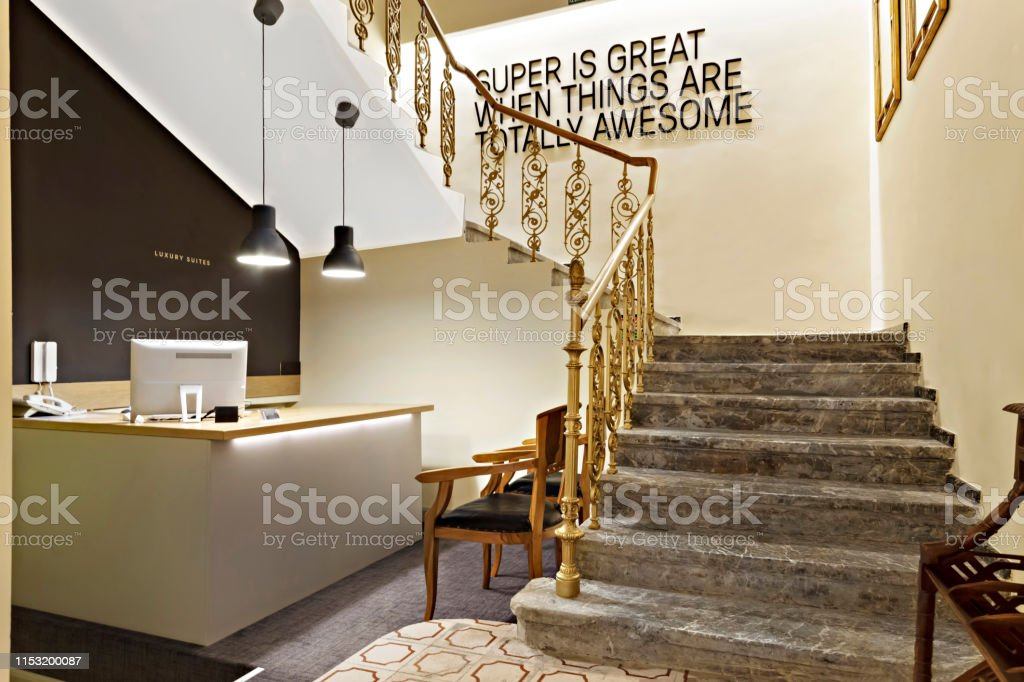 Interior Of A Hotel Lobby With Reception Desk Stock Photo Download Image Now Istock