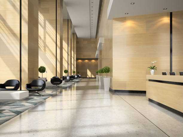 ホテルのフロントの 3 d イラストのインテリア - 玄関ホール ストックフォトと画像