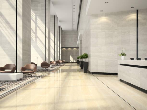 interior of a hotel reception 3d illustration - hotel reception zdjęcia i obrazy z banku zdjęć