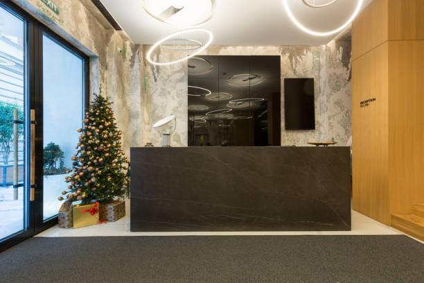 wnętrze recepcji hotelowej z choinką - hotel reception zdjęcia i obrazy z banku zdjęć