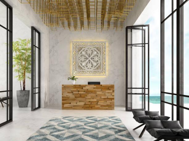 interior of a hotel spa reception 3d illustration - hotel reception zdjęcia i obrazy z banku zdjęć
