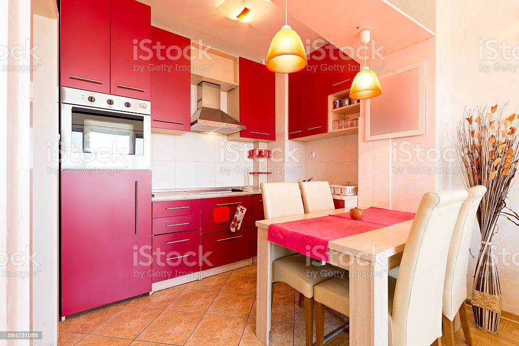 Interior of a kitchen with dining room stock photo