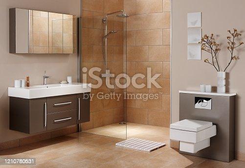 istock Interior of a large bathroom 1210780531