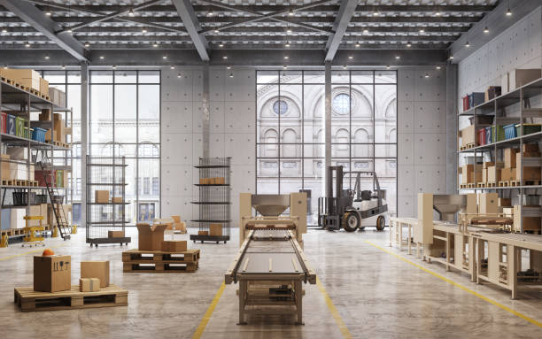 Interior of a large distribution warehouse stock photo