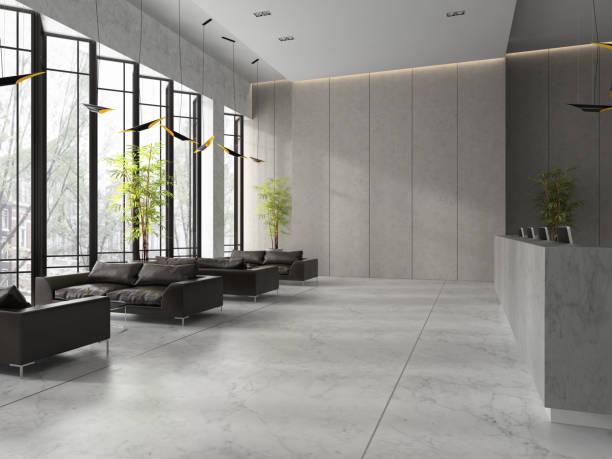 interior of a lobby hotel reception 3d illustration - hotel reception zdjęcia i obrazy z banku zdjęć