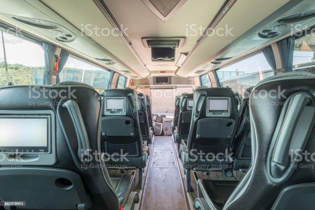 Interior de un autobús y autocar de lujo - foto de stock