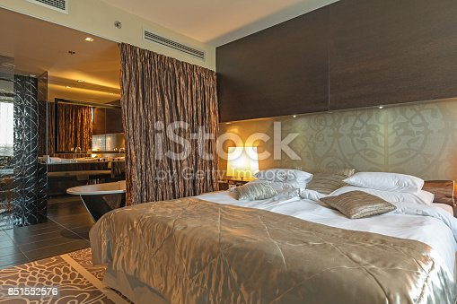 Interior of a luxury hotel bedroom