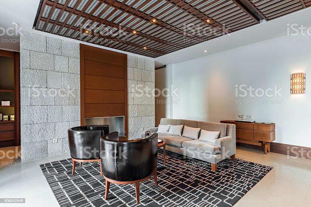 Interior of a luxury living room stock photo