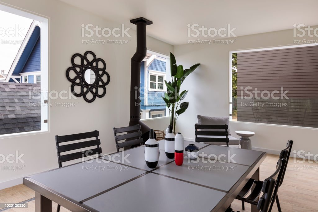 Interior of a mid-century house stock photo