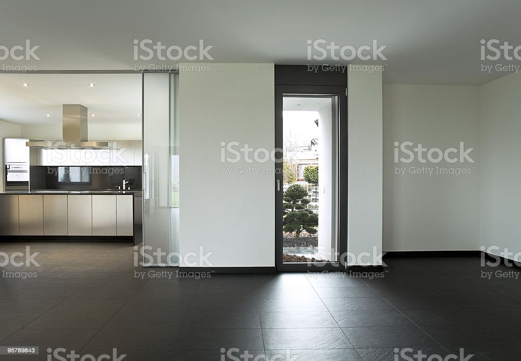 Interior of a modern black and white decorated house royalty-free stock photo