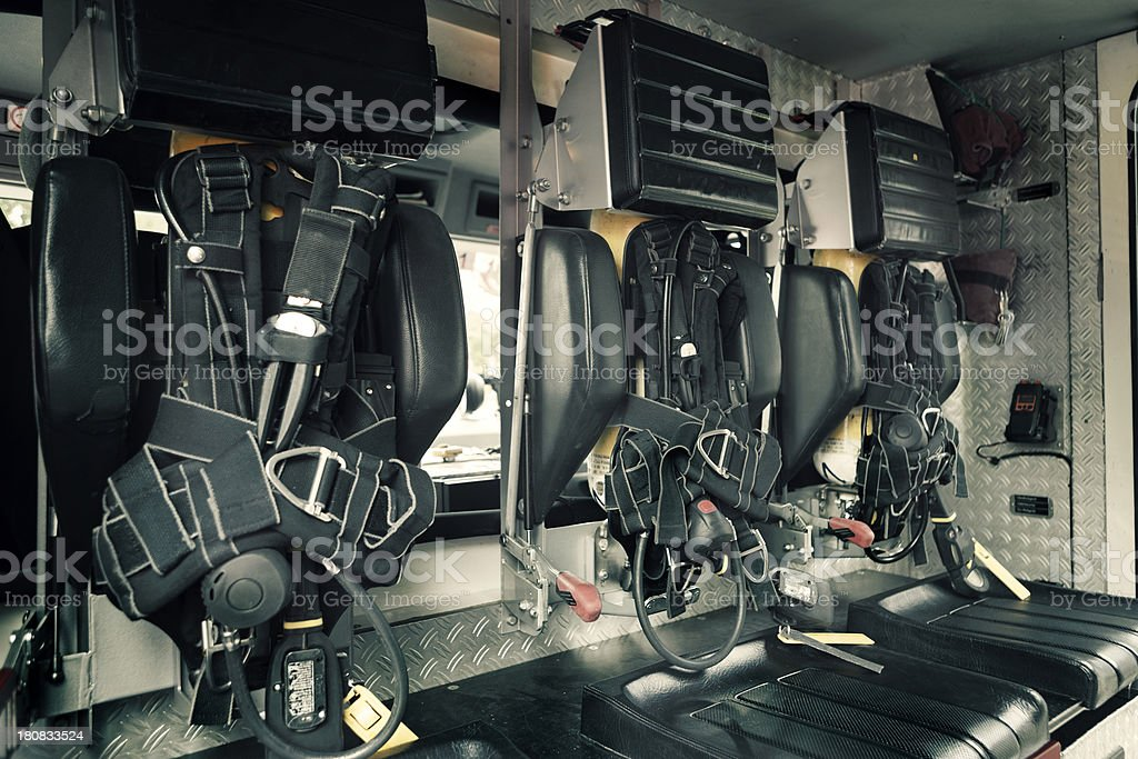 Interior of a modern fire engine royalty-free stock photo