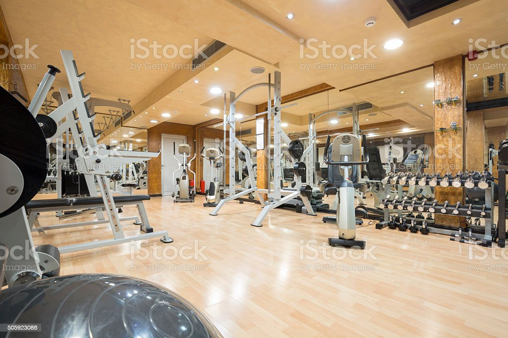 Interior of a modern gym stock photo
