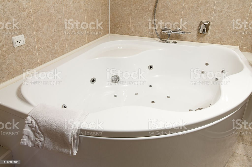 Interior of a modern hotel bathroom jacuzzi stock photo more