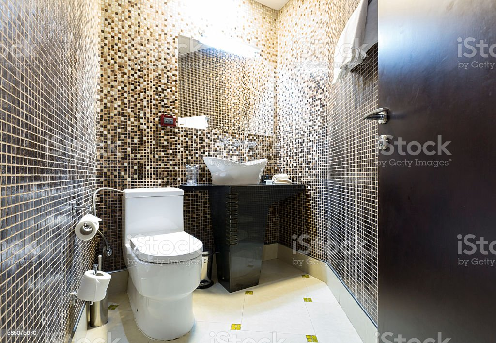 Interior of a modern hotel bathroom stock photo
