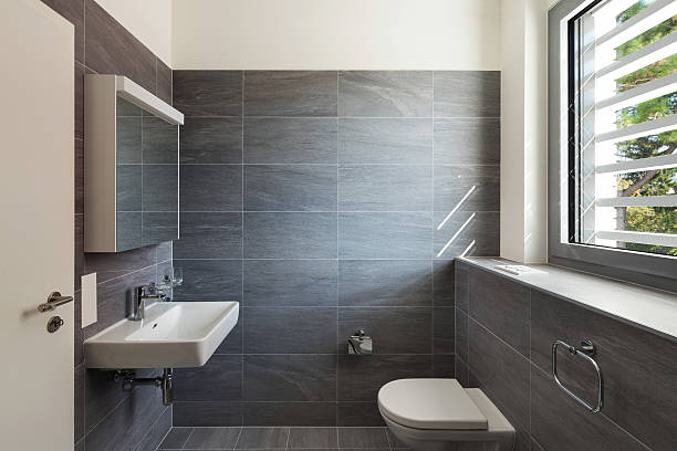 Interior of a modern house, gray bathroom – Foto