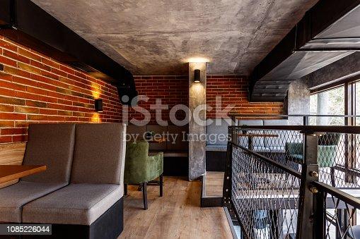 Interior of a modern industrial design pub with a rustic twist