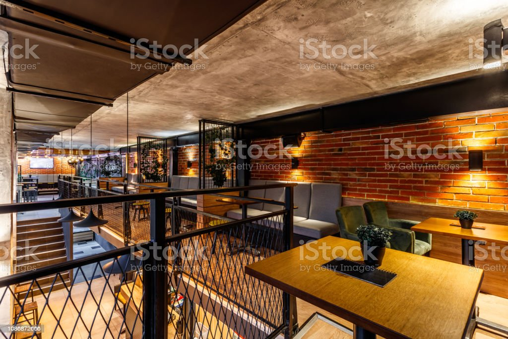 Interior Of A Modern Industrial Design Pub Stock Photo Download Image Now Istock