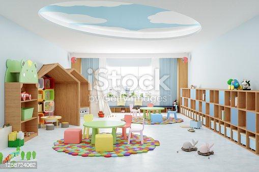Modern empty kindergarten classroom interior.