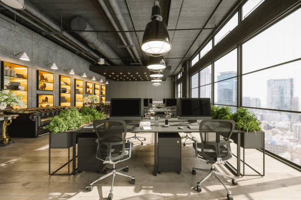 Interior Of A Modern Luxurious Open Plan Co-working Office Space stock photo