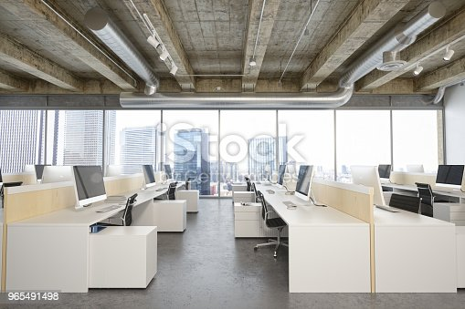 Empty modern office space at business district.