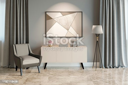 istock Interior of a modern room with two windows, a decor on a pedestal, a lamp, an armchair and a picture. Front view. 1192119438