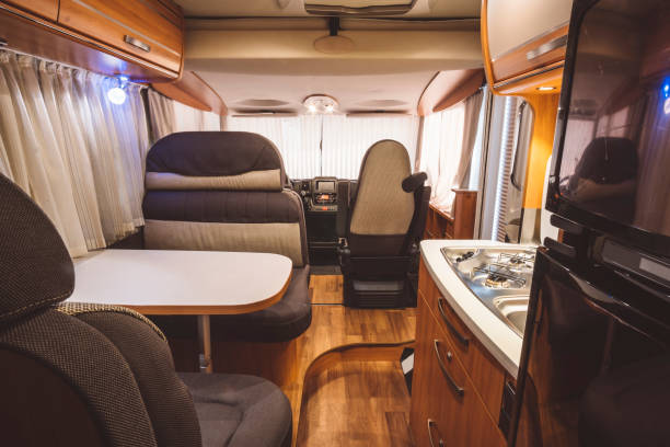 Interior of a new caravan Interior of a new caravan 2017 rv interior stock pictures, royalty-free photos & images