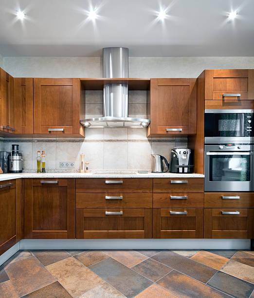 Interior of a new kitchen stock photo