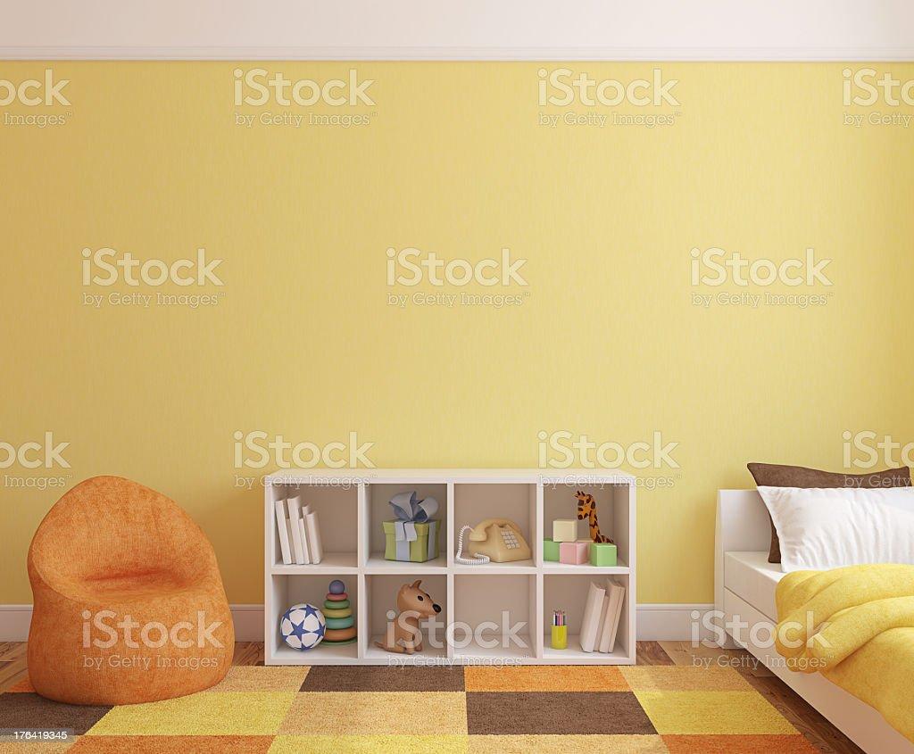 Interior of a playroom near a bed royalty-free stock photo
