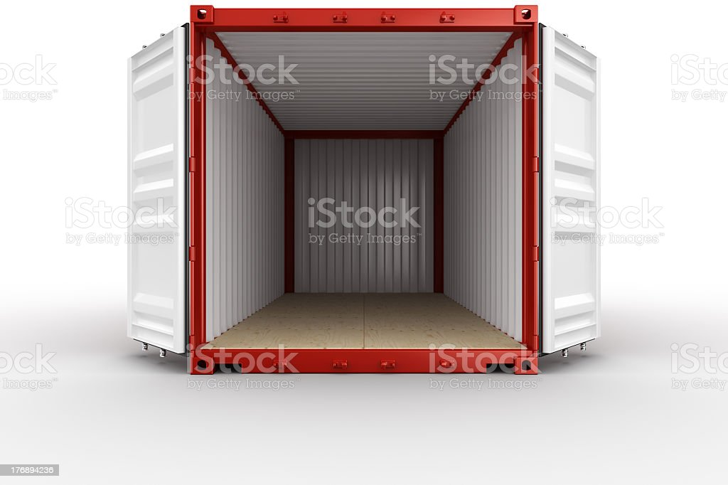 Interior Of A Red Shipping Container Shown With Open Doors