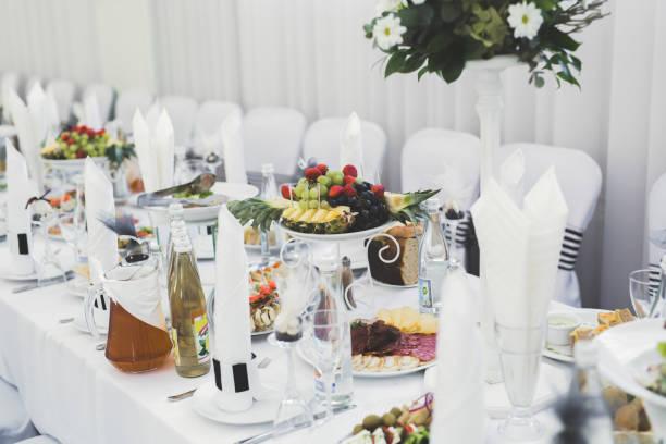 Interior of a restaurant prepared for wedding ceremony stock photo