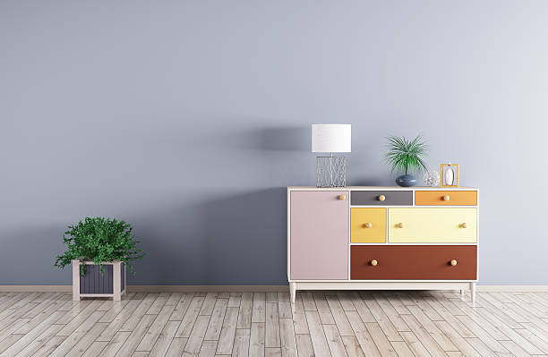 Interior of a room with cabinet 3d render stock photo