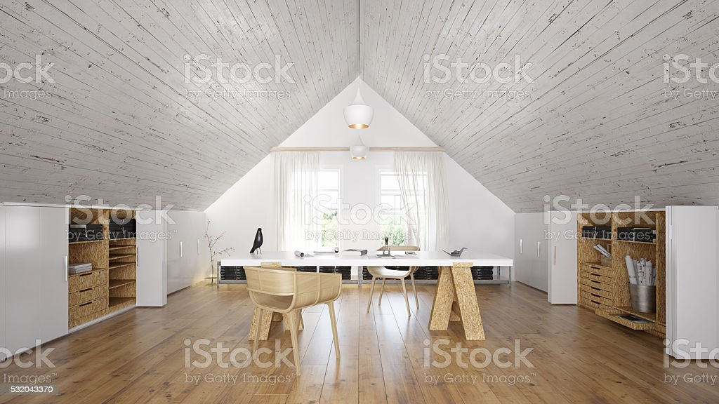 Interior of a rustic home office in attic stock photo
