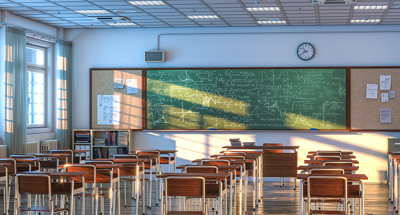 interior of a school classroom with wooden desks and chairs. nobody around. 3d render