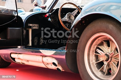 MODENA, ITALY - June, 2018. Interior of a Shelby Cobra Daytona Coupè of 1964 during the