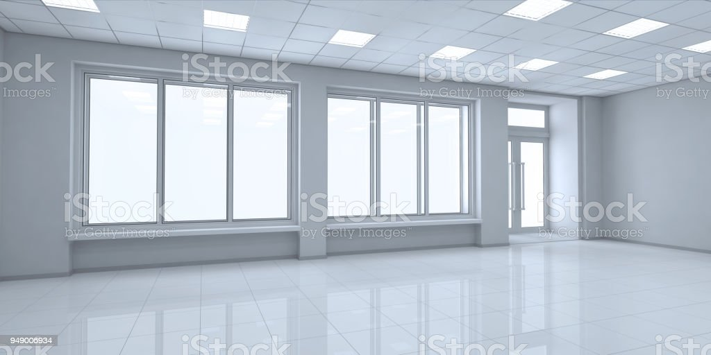 Interior of a small shop with shelves and glass showcases stock photo