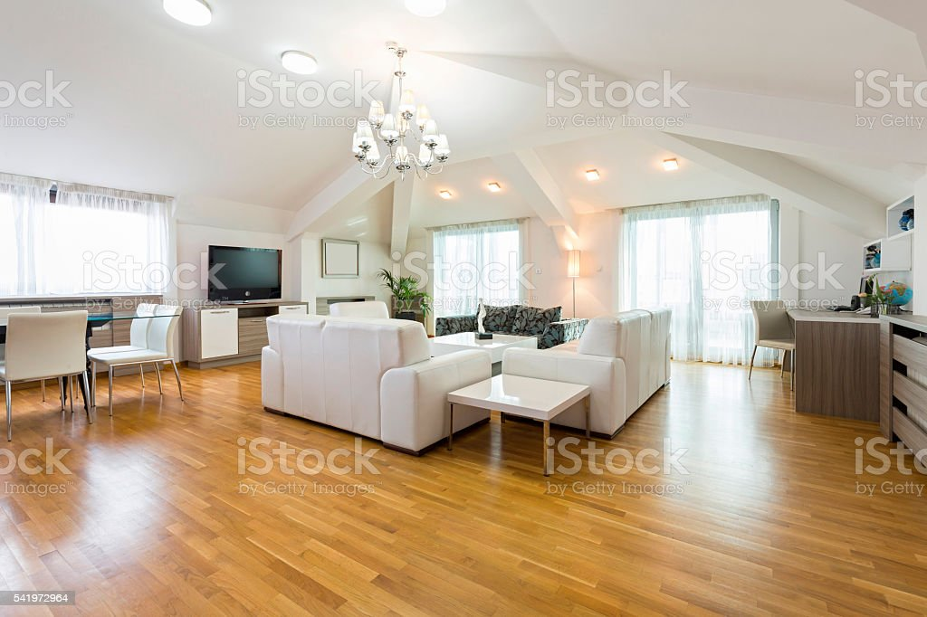 Interior of a spacious living room in loft apartment stock photo