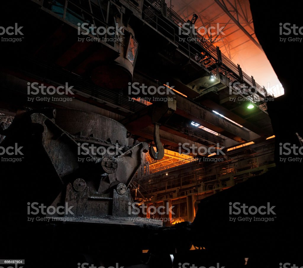 Interior of a steel mill stock photo