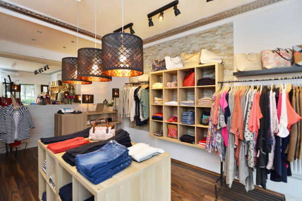 Interior of a store selling women's clothes and accessories stock photo