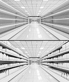 Interior of a supermarket with shelves filled with goods and empty. 3d illustrations set