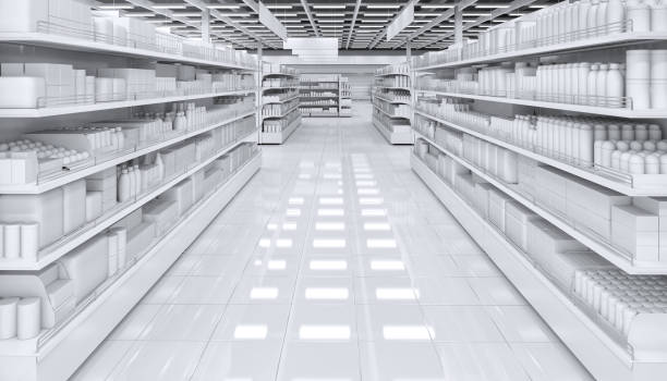 Interior of a supermarket with shelves for goods stock photo