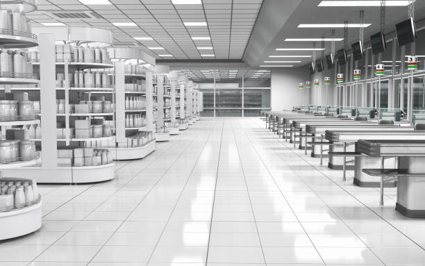 Interior of a supermarket with shelves with goods stock photo