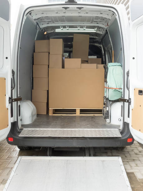 interior of a truck. - lorries unloading stock photos and pictures