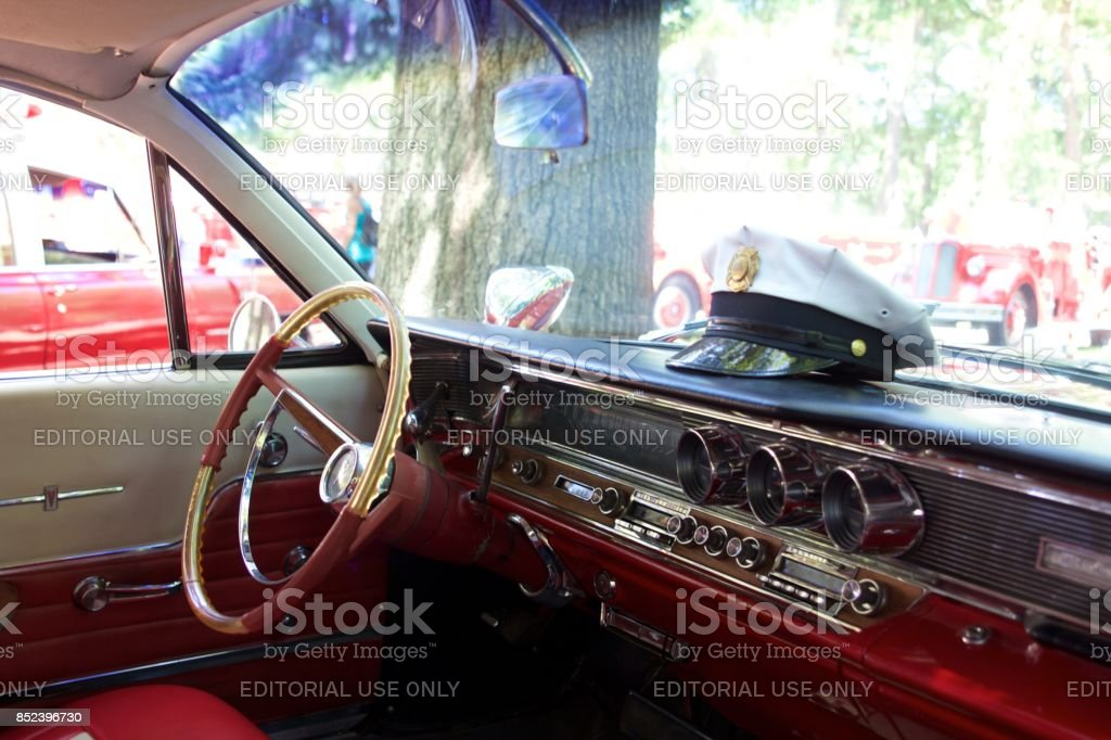 Interior of a vintage Pontiac Bonneville ambulance stock photo