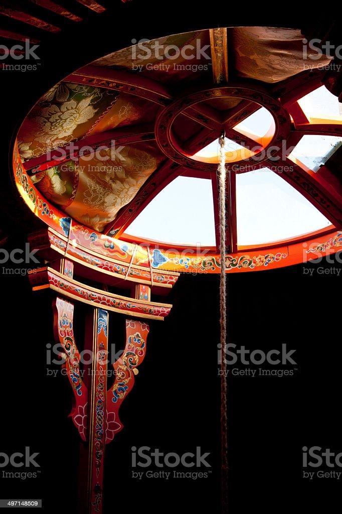 Interior of a yurt stock photo