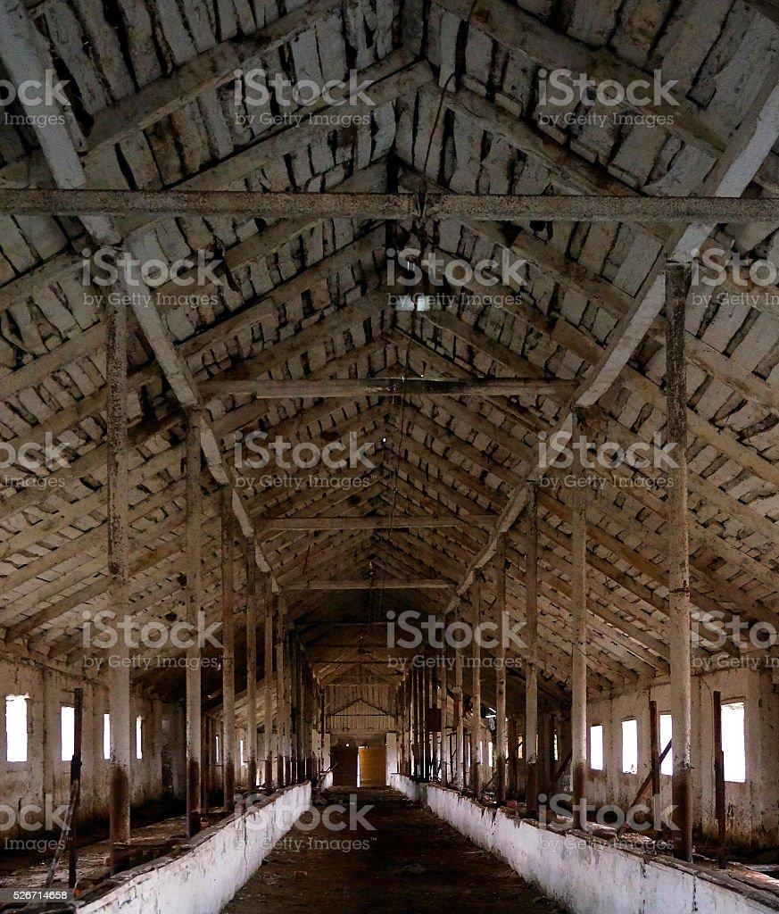 Interior of abandoned barn stock photo