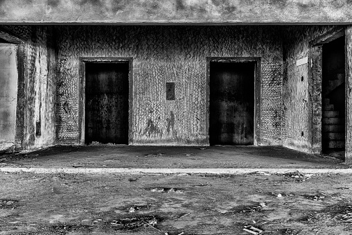 interior of abandoned building creepy place, darkness horror creepy and halloween background, film style concept