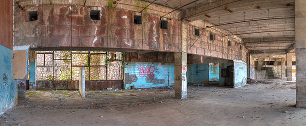 Interior of abandoned shopping center, HDR stock photo