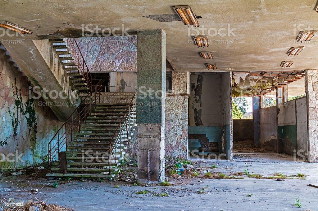 Interior of abandoned shopping center stock photo